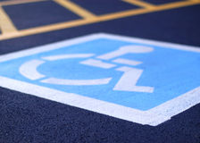 Handicap Parking. Low angle, selective focus handicap parking spot Stock Image