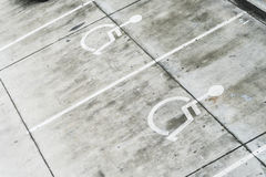 Handicap parking areas reserved for disabled people.  Stock Photography