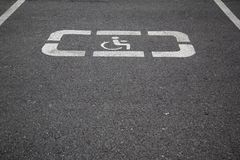 Handicap parking areas reserved for disabled people. Horizontal background Stock Photography