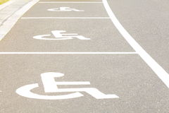 Handicap parking areas. Several handicap parking areas reserved for disabled people Stock Image