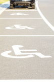 Handicap parking areas. Several handicap parking areas reserved for disabled people Royalty Free Stock Photography