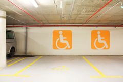 Handicap parking place Stock Photo