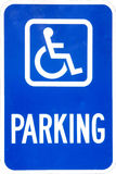Handicap Parking Sign. Blue and white handicap parking sign, isolated royalty free stock photos