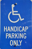 Handicap parking only sign. Isolated handicap parking only sign royalty free stock photos