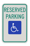 Handicap parking sign. Parking for disabled or wheelchair space, on white background royalty free stock image