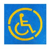 Handicap parking sign on asphalt, persons with disabilities. Isolated on white royalty free stock images