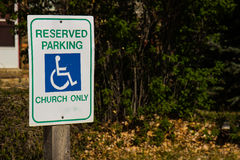 Handicap Parking Sign Outside Church Stock Image