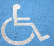 Handicap parking sign on street royalty free stock photography
