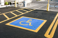 Handicap parking space Stock Photo