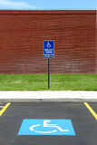 Handicap parking van acccessible. Handicap parking spot at a college, van accessible Stock Image