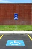 Handicap parking van acccessible. Handicap parking spot at a college, van accessible stock image