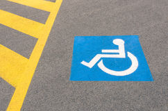 Handicap road sign Parking spots Royalty Free Stock Images