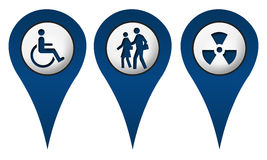 Handicap School Radition Location Icons Royalty Free Stock Photography