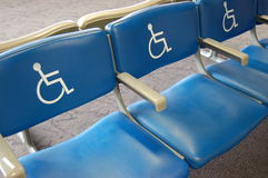 Handicap Seating. Reserved seating in an airport for the handicap Royalty Free Stock Photography