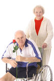 Handicap senior with wife Stock Photo