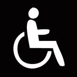 Handicap sign. White handicap symbol illustration at the black background Royalty Free Stock Photos