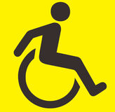 Handicap Sign. A black and yellow handicap sign Royalty Free Stock Photos