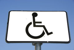 Handicap sign. Cloeup of handicap sign, place for handicap people on parking Royalty Free Stock Photos