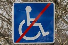 Handicap sign. Entrance forbidden to handicap people sign Stock Photo