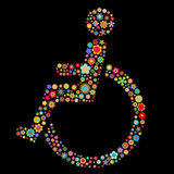 Handicap sign. Vector illustration of  handicap sign  shape  made up a lot of  multicolored small flowers on the black background Stock Photo