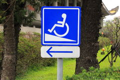 Handicap sign. With arrow in the park, disable sign Stock Image