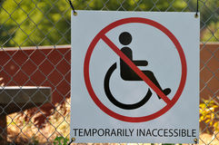 Handicap Signage. At Contruction Site Royalty Free Stock Photos