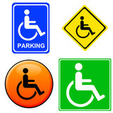 Handicap signs. Signs for disabled people in different colors and designs Stock Image