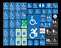 Handicap signs. Vector pack of different handicap accessibility sings Royalty Free Stock Images