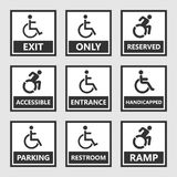 Handicap signs, wc and parking icons, disabled people. Handicap labels and signs, disabled people icons and stickers Stock Photo