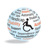 Handicap sphere concept. About handicap, disabilty and accessibility for this person Stock Photography
