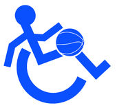 Handicap sports. Logo or symbol for wheelchair accessible sports or activities - vector Royalty Free Stock Photos
