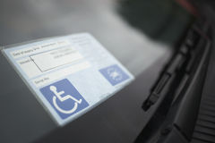 Handicap Sticker On Windshield Royalty Free Stock Image