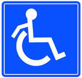 Handicap symbol. Handicap or wheelchair accessible sign with person on the move - vector Royalty Free Stock Photo