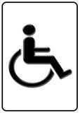 Handicap symbol. Black handicap or wheelchair accessible symbol on white background stock illustration