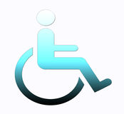 Handicap symbol, disabled sign. Person in wheelchair symbol, disabled person illustration on white background Stock Photos