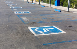 Handicap symbol on parking space Stock Photography