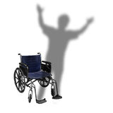 Handicap Wheelchair Shadow Man Walking Stock Images