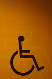 Handicap or wheelchair sign. In yellow background Royalty Free Stock Photos