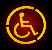 Handicap yellow parking sign on asphalt, persons with disabilities Stock Photo