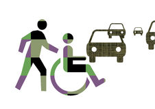 Handicapped. Man crossing the street Royalty Free Stock Images