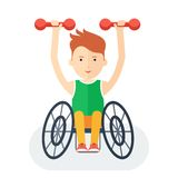 Handicapped athlete with dumbbells Royalty Free Stock Photography