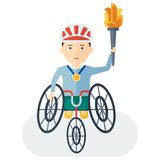 Handicapped athlete holding torch Stock Photo