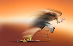 Handicapped athlete motion blurred start out of blocks Stock Photos