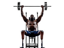 Handicapped body builders building weights man with legs prosthe Royalty Free Stock Image
