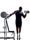 Handicapped body builders building weights man with legs prosthe Royalty Free Stock Photos