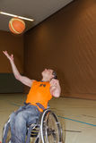 Handicapped boy. In basketball training Stock Photos