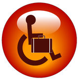 Handicapped business man. Web button for handicap person in wheelchair carrying briefcase Stock Images