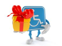 Handicapped character holding gift. Isolated on white background. 3d illustration Stock Photo