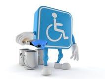 Handicapped character holding paintbrush. Isolated on white background. 3d illustration Stock Image