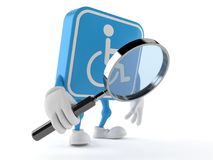 Handicapped character looking through magnifying glass. Isolated on white background. 3d illustration Royalty Free Stock Photo